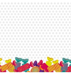 Candies at the bottom dotted background vector