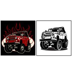 cartoon 4x4 car vector image