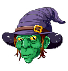 Cartoon witch face on white background vector