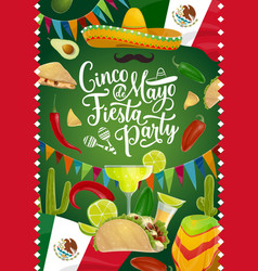cinco de mayo holiday mexican fiesta calligraphy vector image
