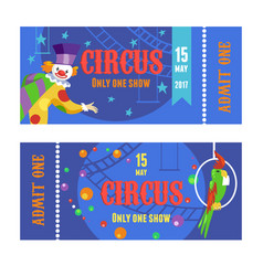 circus ticket with clown and parrot set vector image