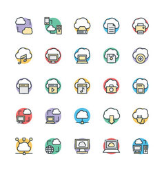 Cloud Computing Cool Icons 1 vector image