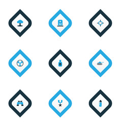 combat icons colored set with radiation boom vector image
