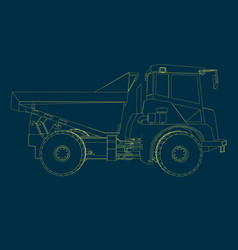 contour truck yellow lines side vector image