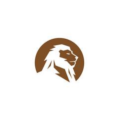 Creative lion circle logo vector