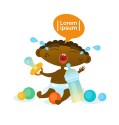 cute african american baby boy cry hungry toddler vector image