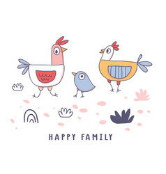 cute cartoon rooster chicken hen family doodle vector image