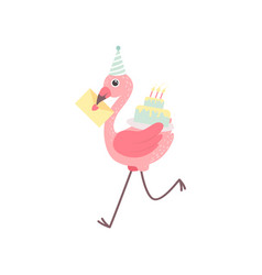 Cute flamingo wearing party hat running vector