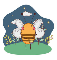 cute little bee with walkman in the camp vector image