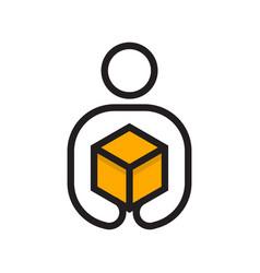 delivery man logo vector image