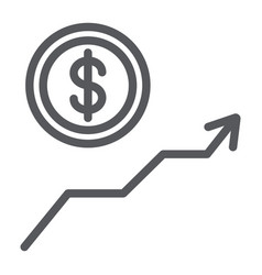 dollar growth line icon financial and graph vector image