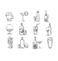 Doodle sketch cocktails and alcohol drinks vector