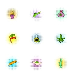 Drug icons set pop-art style vector image