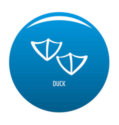 Duck step icon blue vector