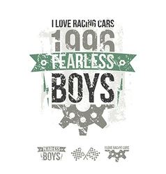Emblem of the fearless riders boys in retro style vector