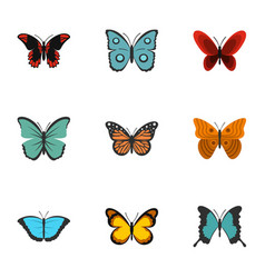 Exotic butterflies icons set flat style vector