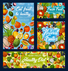 Exotic fruits and berries diet food and detox vector