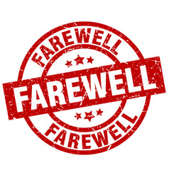 Farewell round red grunge stamp vector