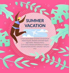 Fashionable flyer with summer vacation cartoon vector