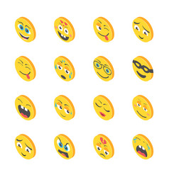 Feelings emojis icons vector
