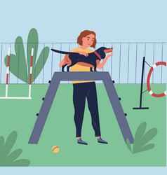 female owner demonstrate or training her dog at vector image