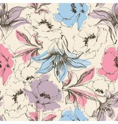 Floral seamless pattern lilies and poppy print on vector