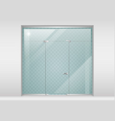 Glass partition with a door vector