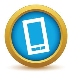 Gold smartphone icon vector image