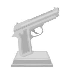 Golden gun on a standaward for best crime film vector