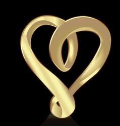Golden swirly heart icon vector