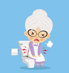 Grandmother was defecating in toilet vector