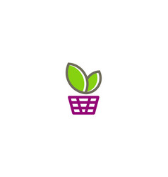 Green leaf basket shopping logo vector