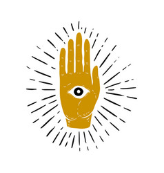 Hand drawn of sunburst hand and all seeing eye vector