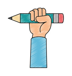 hand with pencil icon vector image