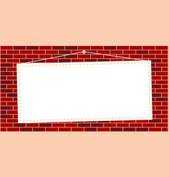 hanging white sheet on brick wall vector image