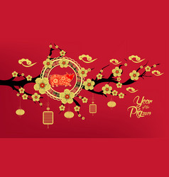 Happy chinese new year 2019 year of the pig paper vector