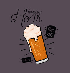 Happy hour beers label with glass vector
