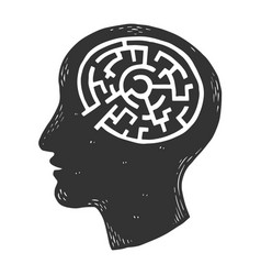 Human brain in form of labyrinth engraving vector