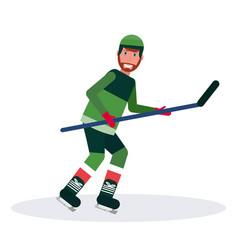 Ice hockey player holding stick skating goal vector