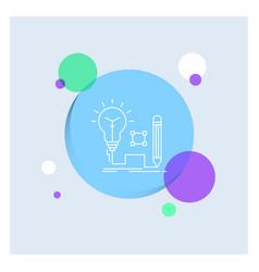 Idea insight key lamp lightbulb white line icon vector