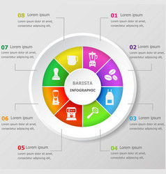 infographic design template with barista icons vector image