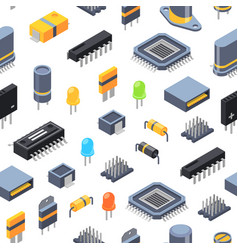 Isometric microchips and electronic parts vector