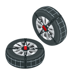 isometric snow chains on tire tire with mounted vector image