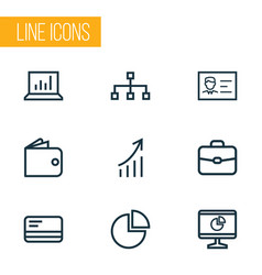 job icons line style set with hierarchy pie bar vector image