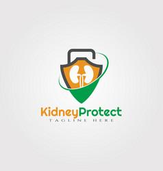 Kidney protection logo designhealthcare vector