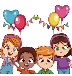 Kids on birthday party vector