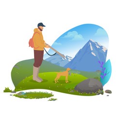 male hunter with gun and dog mountains vector image