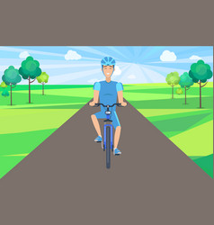 Man on bicycle front view vector