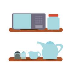 Microwave and crockery vector