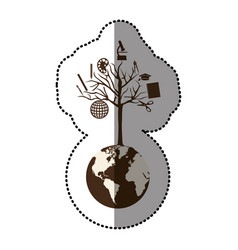 monochrome sticker of world with tree of knowledge vector image